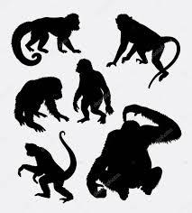 猿オランウータンチンパンジー動物シルエット ストックベクター