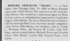 """Obituary for Gertrude Edith """"Trudy"""" Crosby - Newspapers.com"""