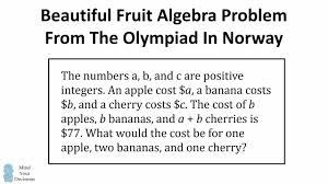 beautiful fruit algebra problem from olympiad in norway