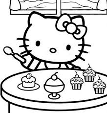 Small Picture Hello Kitty Eating Ice cream Free Coloring Page Hello Kitty