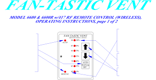 6600 fantastic vent model 6600 hood fan users manual users manual Fantastic Vent Wiring Diagram 1 select \u201cauto\u201d, the dome (lid) lifts automatically now press arrows \u201cup\u201d to increase or \u201c fantastic vent wall control wiring diagram