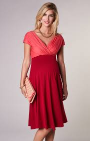 Alessandra Maternity Dress Short Coral Red Maternity Wedding