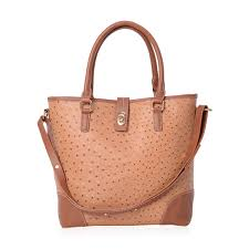 jessica s host pick camel and tan faux leather tote bag with shoulder strap and standing studs 12 5x5x15 lc