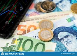 Euro Coins And Banknotes With Iranian Rial Currency