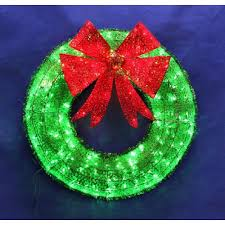 Green Tinsel Wreath With Twinkling Lights