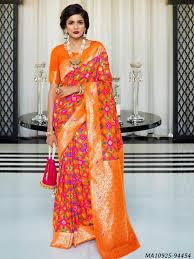 Makeover Saree Designs Kasturba Silk By Rajtex Orange Silk Zari Wedding Bridal Wholesale Designer Saree Zaasmart