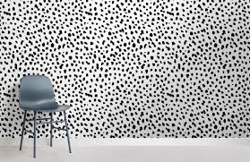 black and white speckle room wall mural