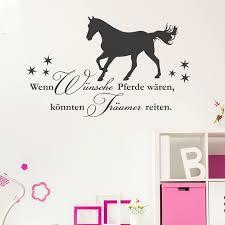 Wandtattoo Spruch Wenn Wünsche Pferde Wären