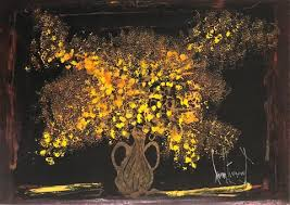 yellow flowers with black background by