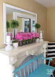 spring fireplace mantel decor