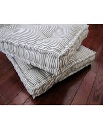 floor cushions.  Floor Ticking Floor Pillow Tufted Cushion With French Mattress Quilting  Stuffed 24x24x4 Pouf Throughout Cushions C