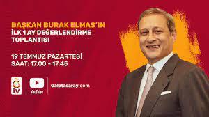 """Galatasaray SK on Twitter: """"Galatasaray SK Başkanı Burak Elmas, 19 Temmuz  Pazartesi günü 17.00 - 17.45 saatleri arasında görevdeki ilk 1 ayını  değerlendirecek. TT Stadyumu'nda gerçekleştirilecek bu basın toplantısını  @GSTV, https://t.co/CcRxUlqT0E ve"""