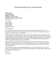 Administrative Assistant Cover Letter Samples Executive Example