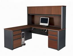 furniture dark brown wooden desk with drawers and keyboard space complete with shelves alluring alluring gray office desk