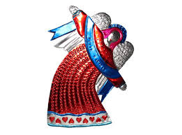 angel in red dress tin wall