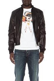 image 1 of dsquared leather jacket in black