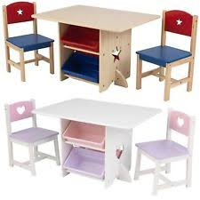 childrens kids nursery wooden play table and chairs set with 4 storage bo new
