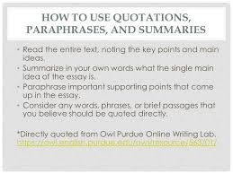 paraphrasing citing research and choosing credible sources ppt how to use quotations paraphrases and summaries the entire text noting the