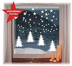 Das Label Wiederverwendbare Winterliche Fensterbilder Weiß 4 X Tannenbäume Mit Sterne Weihnachten Fensterdeko Konturgetanzt Ohne Transparenten