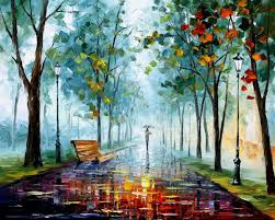 morning fog 2 palette knife modern landscape oil painting on canvas by leonid afremov