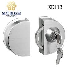 double door single key stainless steel glass door lock xe113