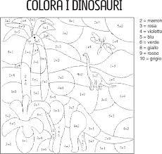 Dinosauri Calcola E Colora La Scuola Di Rosa