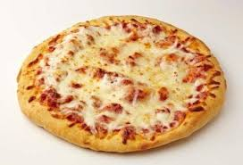 pizza with mozzarella cheese on sourdough crust
