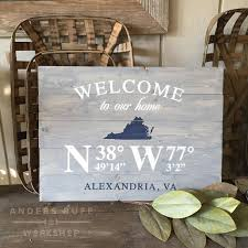 welcome home coordinates state plank sign 17 5 24 any state