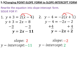 rewrite the equation into slope intercept form solve for y today in algebra review mid ch 5 test