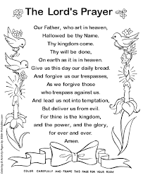 The Lords Prayer Coloring Page The Lords Prayer Frameable Text Bible