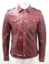 baker mens gents oxblood adjustable collar casual soft real leather shirt jacket