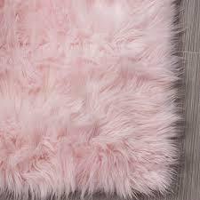 soft faux sheepskin rug light pink