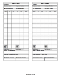 printable time card basic large time card