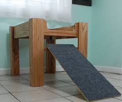 wood dog bed furniture. Oak Wood Raised Dog Bed Elevated Furniture With Ramp