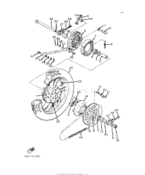 Yamaha xj550 motorcycle rear wheel parts diagram part number 26