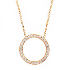 diamond circle of life necklace 18k solid rose gold