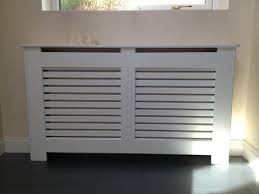 Radiator Covers White with a Horizontal Grille