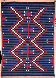 Exellent Blue Navajo Rugs Moki Revival Blanket With Spiderwoman Crosses And Modern Design