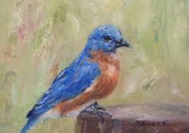 bluebird on stump oil painting bird