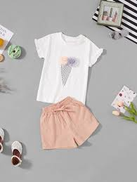 Girls Stereo Flowers Tee With Shorts Fall Fashion Trends