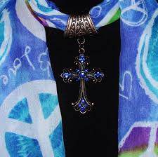 scarf slide copper scarf pendant cobalt blue cross mckenzie creek jewelry