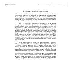 essay poems a comparison of two s on the subject of war who s