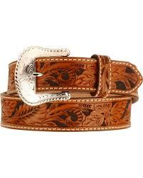 zoomed image tony lama men s tooled leather belt tan