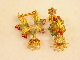 Makara Kundala Earrings Designs 22k Gold Makara Kundanalu Traditional Andhra Jhumki