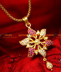 smdr18 gold plated jewellery ad ruby stone flower pendant short chain south indian jewelry 1a 850x1000 jpg