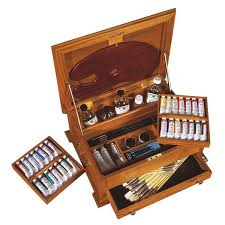 oil painting set in another lovely wooden chest