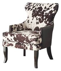 faux cowhide fabric accent chair with stud detail brown