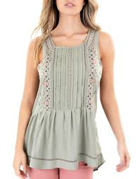 Buy Light Olive Embroidered Top Knox Rose Pina Court