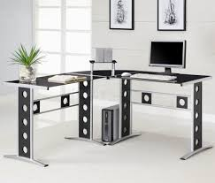 l shaped home office desk. Furniture L Shaped Home Office Perforated Base Legs Dark Leather Swivel Chairs Large Half Moon Shape Desk