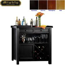 Dining Room Console Cabinets Wooden Black Wine Storage Console Sideboard Buffet Cabinet Wd